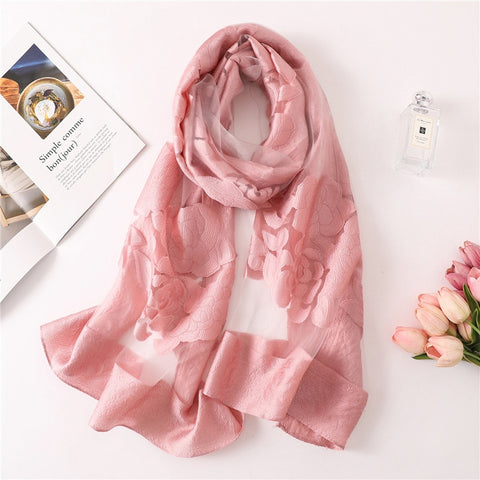 Solid color women scarf summer silk scarves for lady shawls and wraps organza Hollowed flowers beach stoles bandana foulard