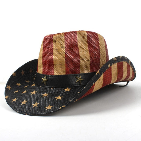 Men Straw Classic American Flag Cowboy Hat Wide Brim USA  Cowgirl  Summer Cap