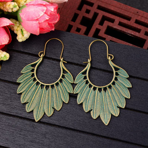 Bohemian Ethnic Bronze Green Leaf Tassel Drop Earrings Women Handmade Statement Gypsy Jewelry Earring Femmes Pendientes