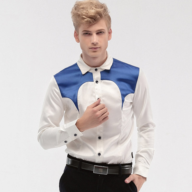 f3a6aa1a68a3b Free Shipping New fashion personality male Men's male Court men Slim type  Satin shirt sleeved dress shirt 14275 groom