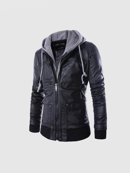 Mens Leather Jackets Casual Hooded Motorcycle PU Coats Slim Fit Long Sleeve Zipper Black Outerwear