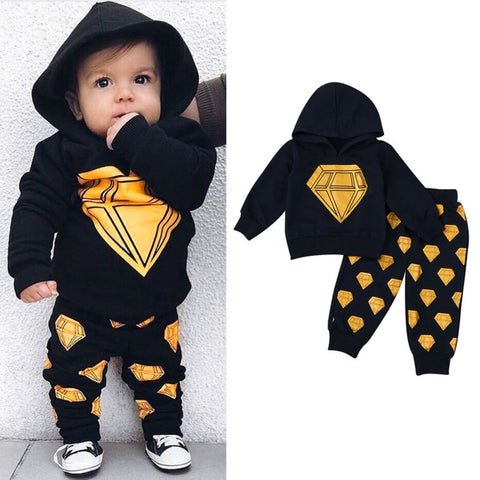Cotton Baby Hooded Tops T-shirt+Pants Baby Clothing Sets Spring Baby Boys Clothes Infant Fashion Outfits Set