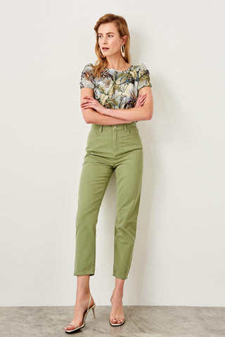 Khaki High Waist Mom Jeans