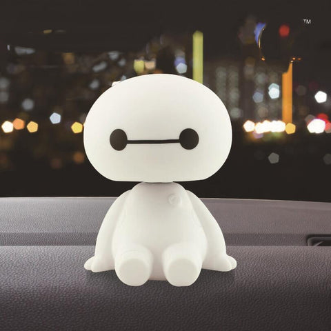 Big Hero 6 Baymax Anime PVC Action Figure Cartoon Cute Robot Bobble Head Shaking Baymax Dolls Car Decor Kids Toys Gift