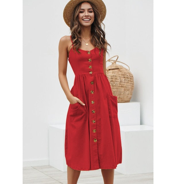 A Line Elegant Button Strap Midi Dress Casual V Neck Dot Floral Striped Cotton Dresses Summer Beach Dresses For Women Vestidos