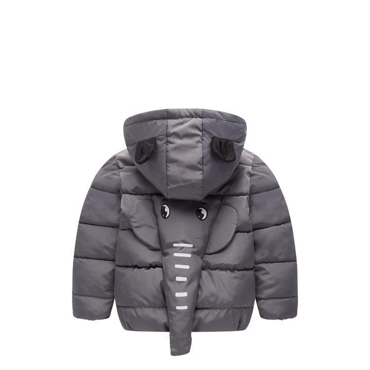 Kids Down Jacket Cut 3D Cartoon Elephant Toddler Children Winter Jacket Coat Boy's Winter  Cotton Padded Jacket Size 2-8