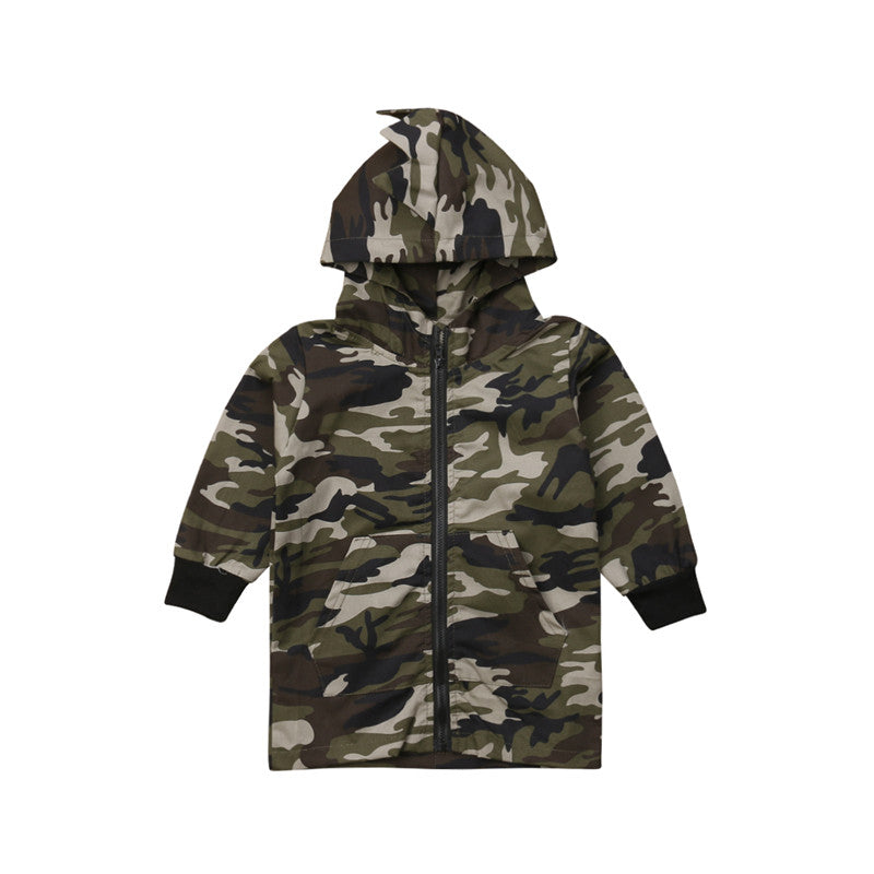 2-7Y Camouflage Dinosaur Hooded Kids Baby Boys Clothes Zipper Hoodie Jackets Long Sleeve Outwear