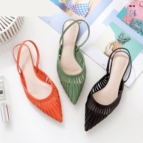 New Women Flat Sandals Brand Design Pointed Toe Slip On Sandal Mule Low Heel Strap Dress Women Outdoor Slides