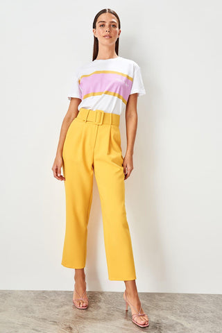 Yellow Belt Detail Pants TWOSS19BB0468