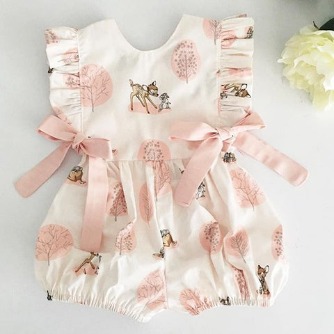 Fashion Baby Girl summer clothing cute Deer Flower cotton soft Romper Jumpsuit for newborn infant clothes children kid