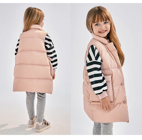 Kids Long Puffer Vest Children Toddler Gir Winter Down Vest Fashion Sleeveless Waistcoat Casual Outwear Clothes