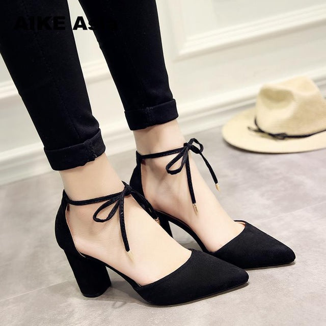 a1e818968a JOHNKART.COM. $24.15 USD. Spring New Women Shoes Basic Style Retro Fashion  High Heels Pointed Toe Office ...