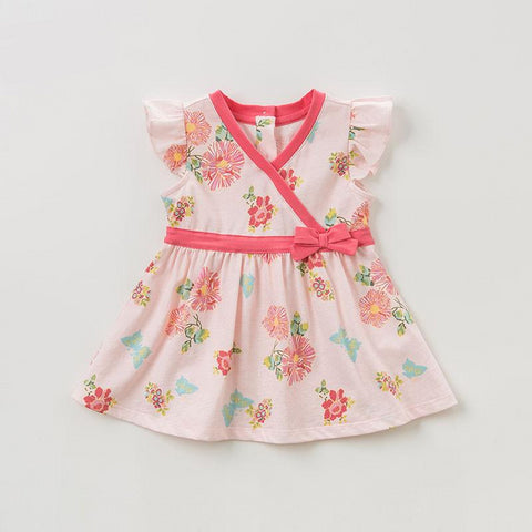 Summer baby girl's princess cute bow dress children party wedding flower dress kids infant lolital clothes