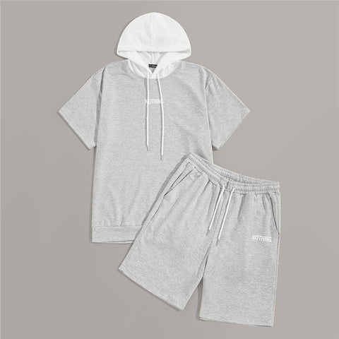 Men Gray Drawstring Hoodie With Straight Track Shorts Men Set Male Short Sleeve Hooded Tops And Shorts Two-piece Co-ord