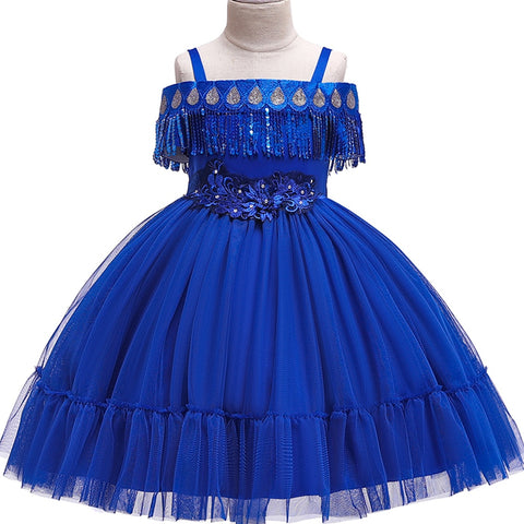 Kids Tassel Dress for Girls Wedding Beading Flower Dress Baby Girls Princess Party Pageant Formal Dress Prom Birthday robe fille