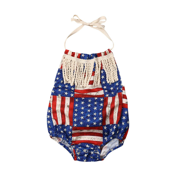 Fyhuzp 1st 4th of July Clothes Baby Boy Girl Outfits American Flag Star Romper Shorts Hat Blue 2019