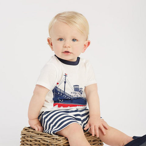 Summer baby boys fashion clothing sets casual short sleeve suits children steamboat print clothes