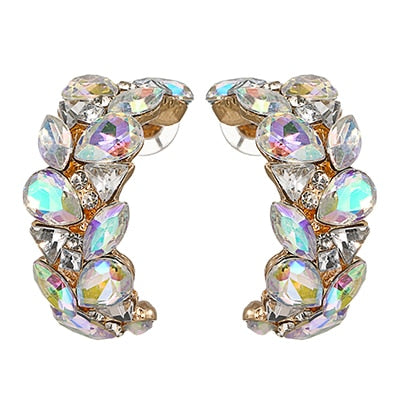 Fashion Bling Full Rhinestone Luxury Stud Earrings Crystal Charm Statement Earrings For Women Bride Wedding Jewelry