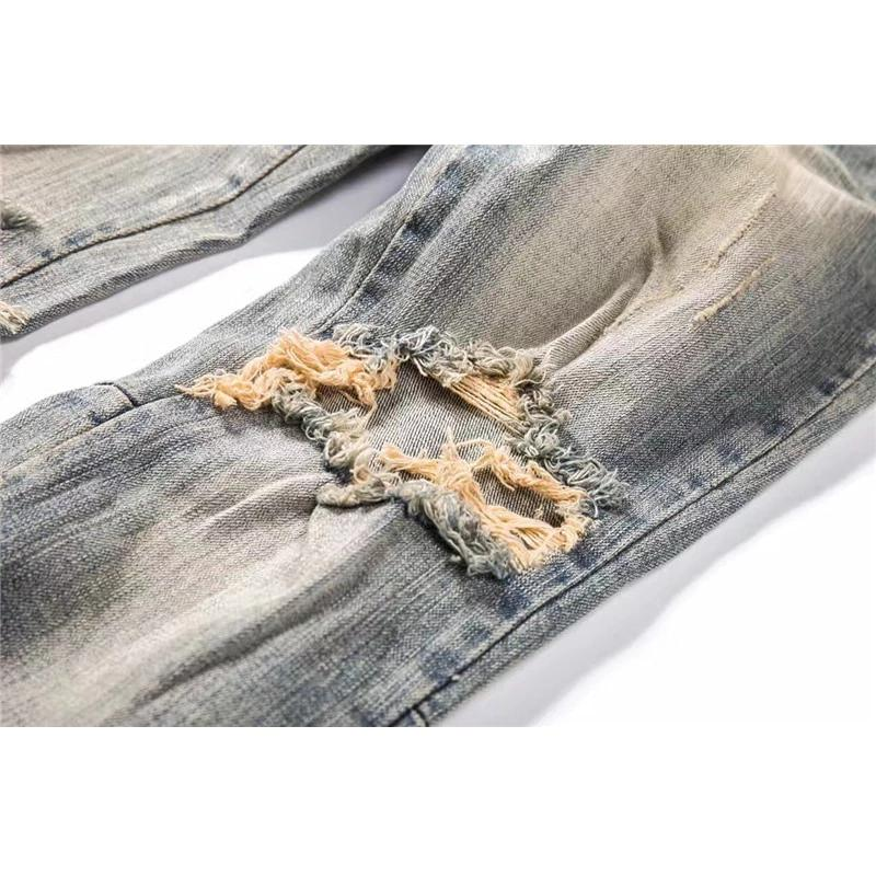 Ripped Side Zipper Jeans Men New Stonewashed Destroyed Men's Jeans