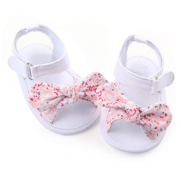 Fashion Summer Prewalkers Soft Sole Baby Girls Bow First Walkers Shoes First walker Toddler Floral Shoes