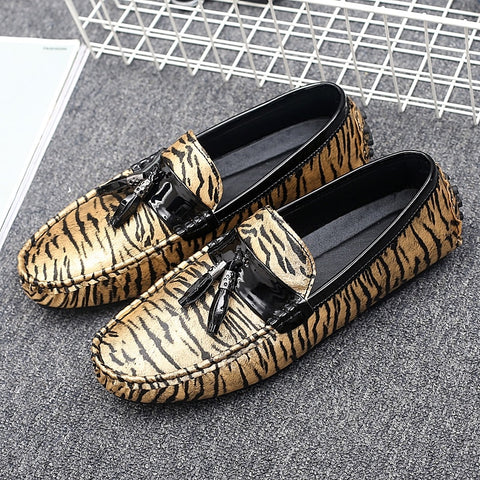 Genuine Leather Zebra Lazy Shoes Men Casual Driving Man Boy Loafers Zapatillas Hombre zapatos de hombre Footwear A8805