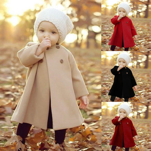 Spring New Arrival cloak Children's woolen coat autumn baby girl clothes overcoat Korean style bebe Girls Coats Jackets