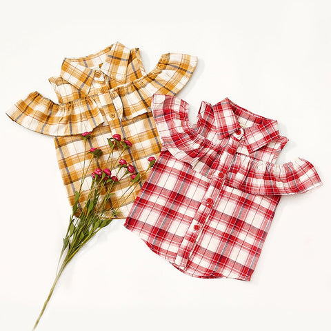 Kids Strapless Ruffles Blouses & Shirts For Girls Summer Plaid Blouses For Girls New Fashionable Baby Girls Clothes