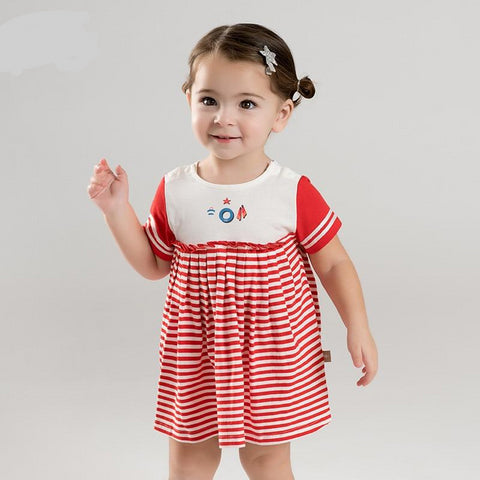 Summer baby girl's princess cute red striped dress children fashion party dress kids infant lolita clothes
