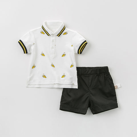 Summer baby boys fashion clothing sets casual short sleeve suits children banana clothes