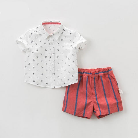 Summer baby boys clothing sets fashion children  print suits  infant high quality clothes boys outfit