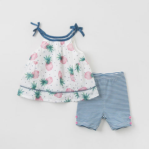 Summer baby girl clothing sets cute fruit print children suits infant high quality clothes girls outfit