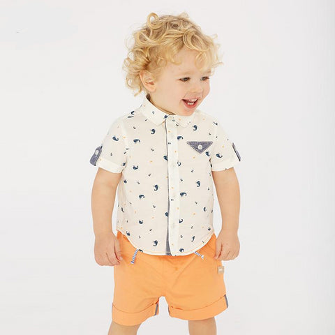 Summer baby boys fashion clothing sets casual short sleeve suits children whale print clothes