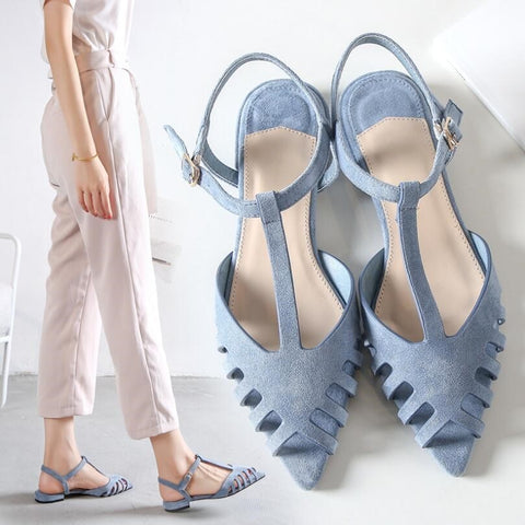 Spring Summer Sandals Suede Fresh Elegance Sky Blue Lady Flat Heel Pointed Peep Toe Rome Style Gladiator Shoes