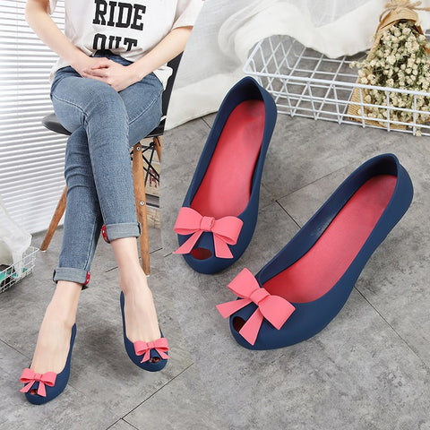 Wedges Heel Jelly Pumps Women Rain Shoes Sandals Peep Toe Med Heel Height Increasing Jelly Shoes With Bow Slip On 2019