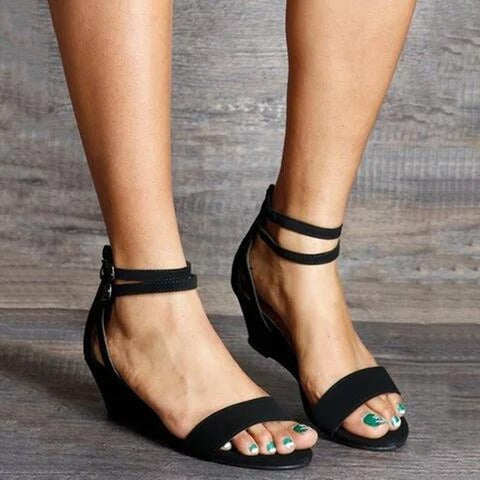 Summer Sandals Wedges Heel Med Height Increasing Leather Pumps Women Open Toe Plus Size Double Buckle Strap Shoes