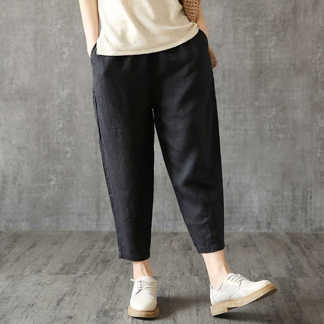 Vintage Women Linen Pants Plus Size Summer Pant Capris Loose Thin Fabric Linen Cotton Pant Solid Color Harem Pants Women