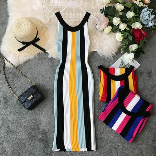 Summer Ladies Knitted Sheath Rainbow Striped Mid-calf Dress Women Fashion Elastic Urban Halter Slim One-step Long Dress
