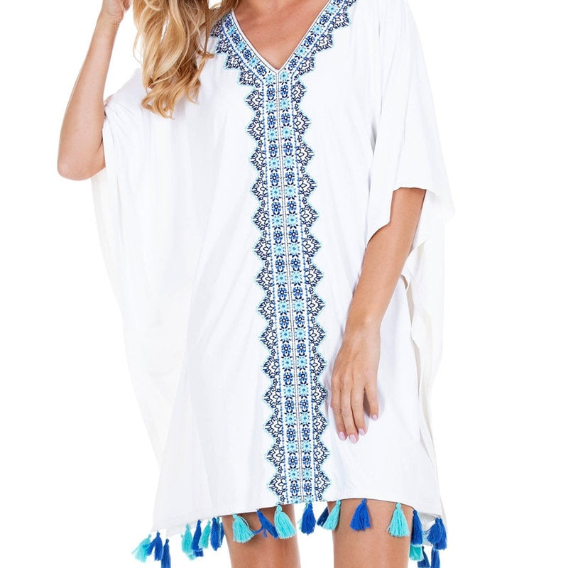 Bohemian Embroidered V-Neck Batwing Sleeve Summer Beach Dress Casual Women Beachwear White Cotton Tunic Sarongs Plage N824