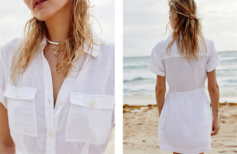 New Causal Short Sleeve Turn Down Collar Pockets Front White Cotton Long Women Tops Blouse Shirts Beachwear Cover-ups N815