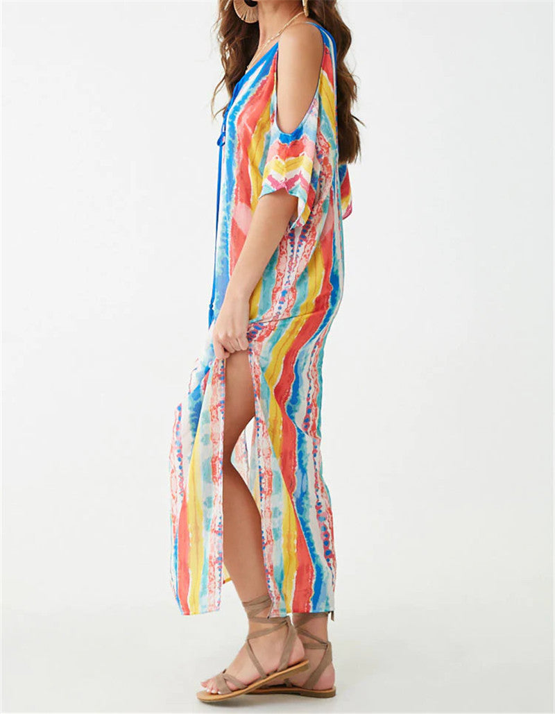 Multicolored Bohemian Printed Lace Up V-Neck Cold Shoulder Cape Sleeve Side Split Boho Summer Beach Dress Cotton Tunic N814