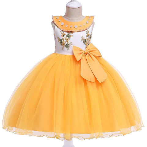 Girls Bow Flower Girl Princess Party Dresses for Weddings Birthday Kids Girl Clothes Children Clothing Baby Costume L5079
