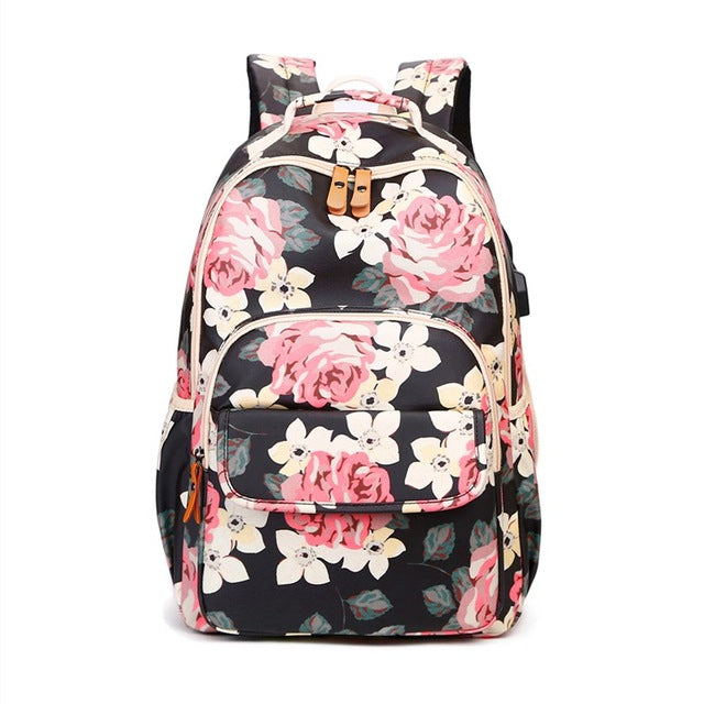 Kids Pink Flower Backpack Floral School Bags For Teenage Girls