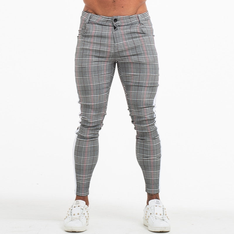 Mens Slim Fit Men Skinny Pants Super Comfy Stretch Pants For Men Plaid Design Side Stripe