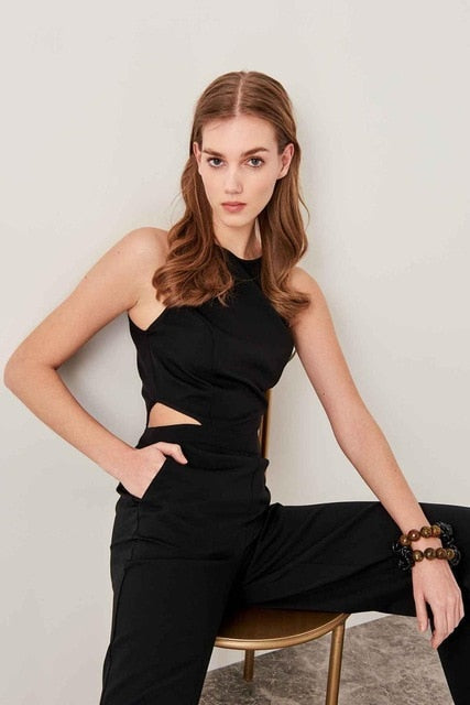 Coral Black Waist Decolletage Jumpsuits TWOSS19LJ0139