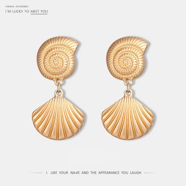 Stylish Personality Shell Dangle Earrings Zinc Alloy Vintage Gold Earrings for Women Party Jewelry oorbellen pendientes