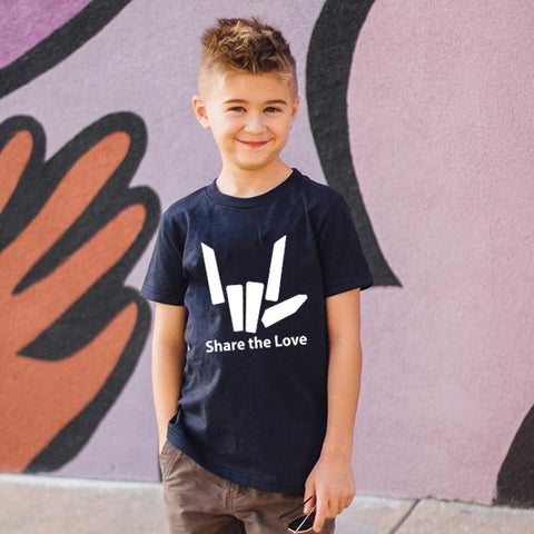 New Fashion Share The Love Childrens Tees Boys O-neck Short Sleeves T-shirt Girls Fashion Street Style Soft Tops Tshirts