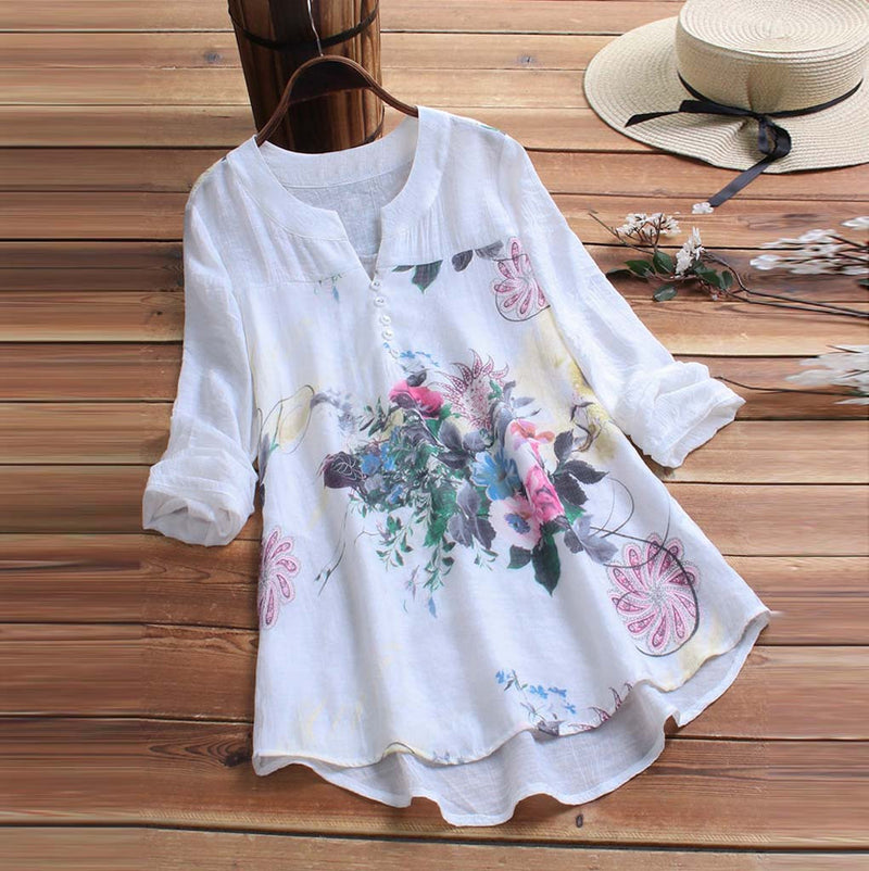 Blouse Women Vintage V-Neck Floral Printing Patch Long Sleeves Top Shirt Dames Blouses Lange Mouwen Chemisier Femme Woman Blouse