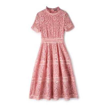 summer Women High Quality Elegant Slim Hollow Out A-line Lace Midi Dress Pink/Green Dress self portrait dress