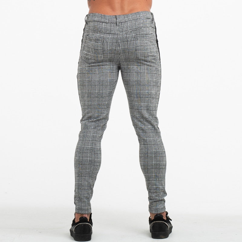 Mens Slim Fit Skinny Pants For Men Trousers Plaid Design Fashion Grey With Stripe at Side