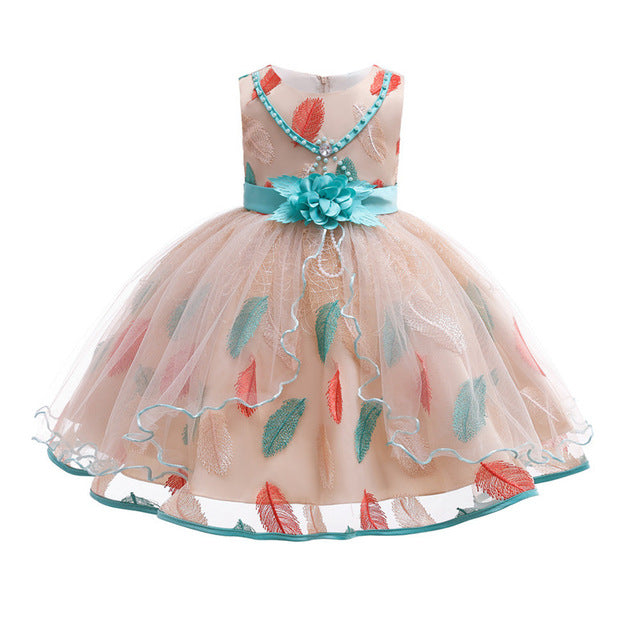 Small and medium children's embroidered lace princess dress European and American mesh children's dresses fluffy dress